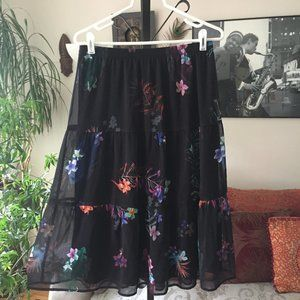 Christopher & Banks Floral Tiered Chiffon Skirt